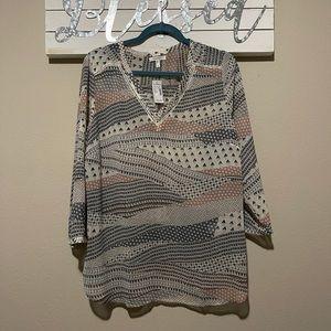 Maurices - pink / gray boho tunic